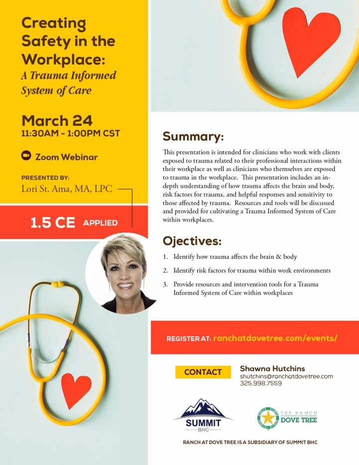 Creating Safety in the Workplace: Trauma Informed System of Care - Webinar - March 24, 2021