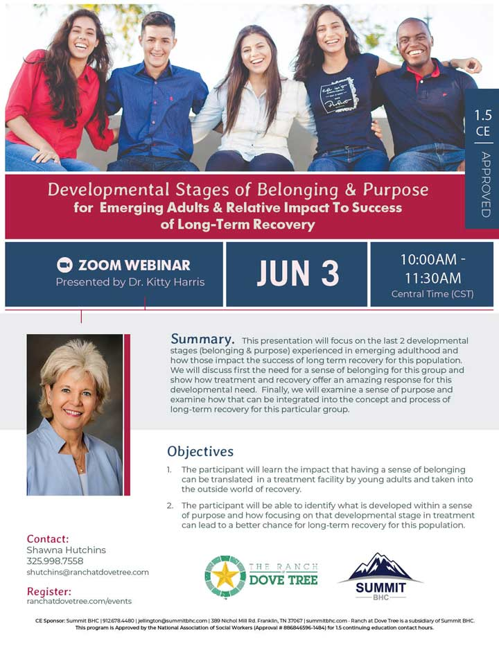 Developmental Stages of Belonging & Purpose for Emerging Adults & Relative Impact To Success of Long Term Recovery Event
