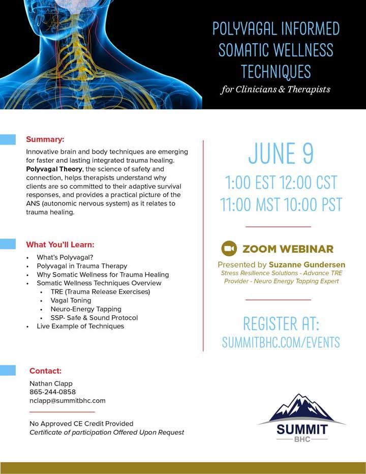 Polyvagal Informed Somatic Wellness Techniques - Webinar - June 9, 2021