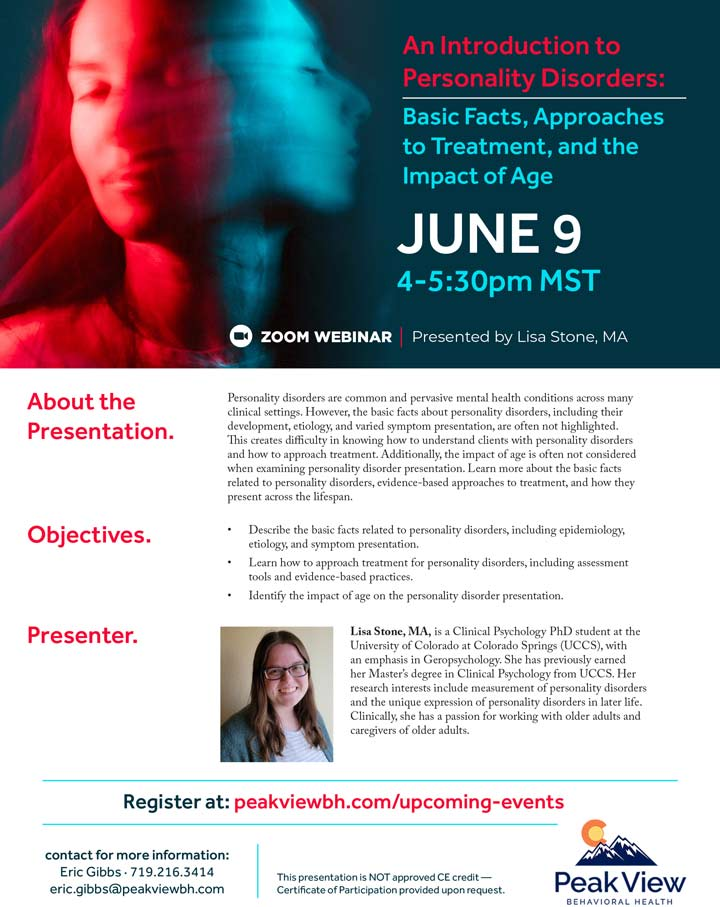An Introduction to Personality Disorders - Webinar - June 9, 2021
