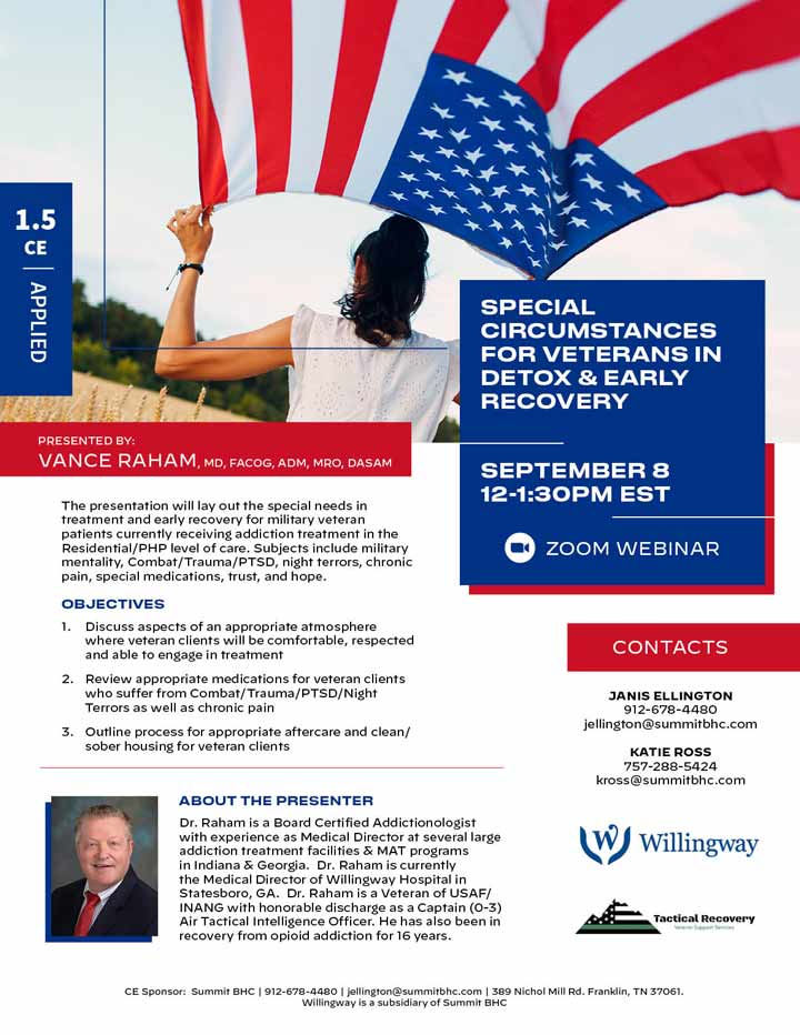 Special Circumstances for Veterans in Detox & Early Recovery - Webinar - September 8, 2021