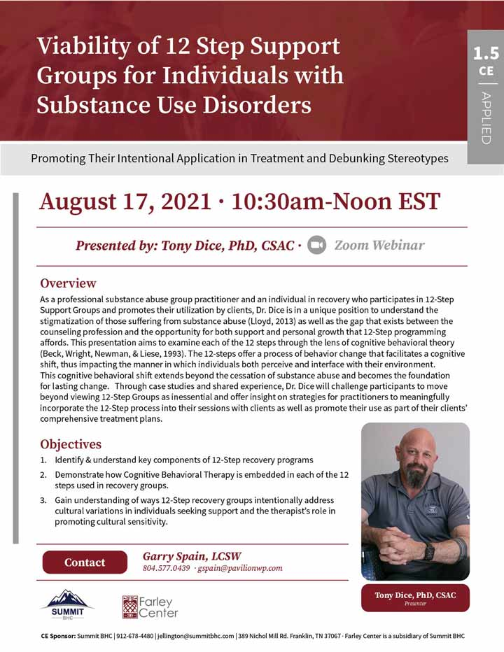 Viability of 12 Step Support Groups for Individuals with Substance Use Disorders - Webinar - August 17, 2021
